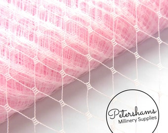 9 Inch (23cm) Russian / French Veiling for wedding blusher veils, fascinators and millinery 1m (1.09 yards) - Light Pink