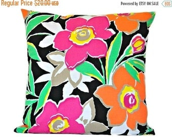 Christmas in July Sale Tropical Floral Pillow Cover Cushion Retro Neon Black Fuchsia Tangerine Lime Green Yellow White Decorative 16x16
