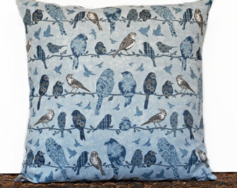 Blue Birds Pillow Cover Cushion Brown Teal White Floral Plaid Paisley Geometric Decorative 18x18