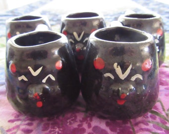 Adorable Set of Asian Style Miniature Black Bear Faced Pottery Cups