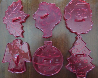 Set of 6 Red Transparent Christmas Themed Cookie Cutters-Made in USA