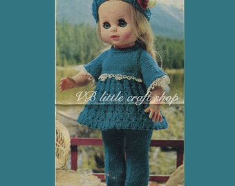 "Doll's outfits knitting pattern.  To fit 13"" doll. Instant PDF download!"