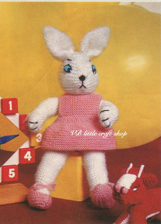 Knitting Patterns Rabbit Soft Toy : Bunny rabbit girl soft toy knitting pattern instant pdf