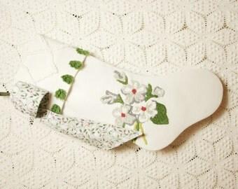 Elegant Dogwood Blossoms Vintage Chenille Heirloom Christmas Stocking