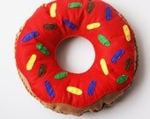 Doughnut Cushion with Bright Red Icing and Sprinkles Novelty Toy/Plush/Pillow/Decoration Fun Gift Pretend Food kids Donut (Medium)
