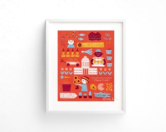 Farmers' Market - Giclee of an original illustration (8 x 10in)