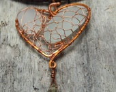 FOR HIM or HER - Hearth Pendant with genuine sea glass from Amalfi Coast and eco leather