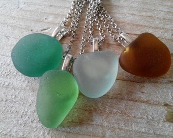 MERMAID minimalist  sea glass necklace -  Genuine Natural Italian  Sea Glass from amalfi - made to order