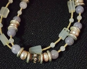 Chalcedony and aquamarine double strand bracelet