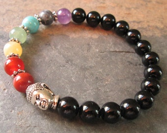 7 Chakra & Onyx Buddha Meditation Bracelet ~ Chakra Gemstone Bracelet ~ Yoga / Metaphysical / Spiritual Jewelry