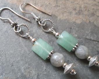 Labradorite & Green Aventurine Earrings - Chakra, Boho Jewelry