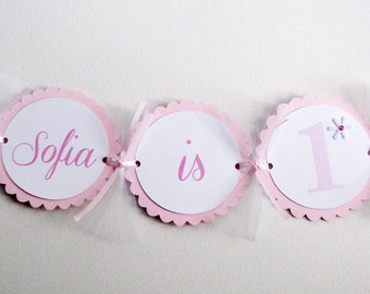 Snowflake Birthday Banner, Snowflake High Chair Banner, Snowflake It's a Girl Banner, Pink Snowflake Party Decorations