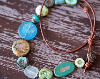 Turquoise Boho Necklace - Sea Glass Eclectic Necklace - Leather Necklace - Beach Necklace - Bead Soup Jewelry