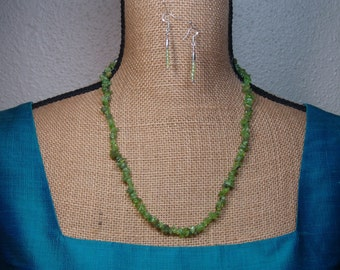 Natural Peridot Gemstone Chips, 925 Silver Necklace and Earrings