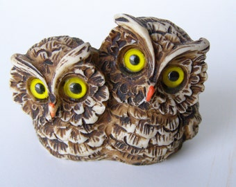 Adorable Owl Pair Vintage Figurine