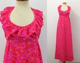 60s Maxi Dress Halter Ruffle Mod Bright Hot Pink Floral Babydoll Empire Waist Open Back Long Vintage 1960s Boho Sundress Festival Small S
