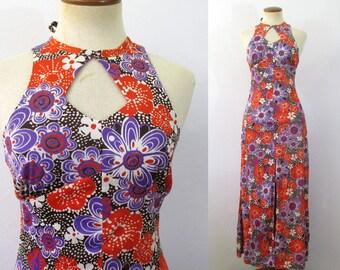 Maxi Dress Vintage 70s Floral Keyhole Halter Empire Waist Boho High Neck MOD Long Sundress 1970s Festival Gown Hippie Retro Bohemian XS S