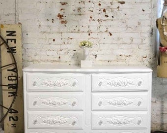 RESERVED for LISA Painted Cottage Chic Shabby French Chest DR847
