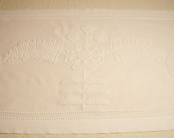 Beautiful, Intricate White Antique Candlewick Chenille Table Runner or Pillow Lay-Over - 72 by 23 Inches