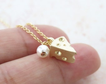 You are My Cheese - Tiny Gold Cheese with a pearl Dainty Necklace, Gold jewelry, chic cute necklace,