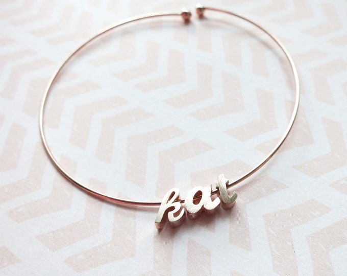 Name Bangle, Name bracelet Jewellery, Personalized Gift, Bangles, Rose Gold Silver Bangles, Bridal shower gift Bracelet