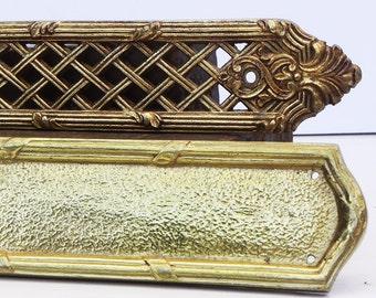 2 salvaged large vintage brass backplates back plates Vintage Hardware