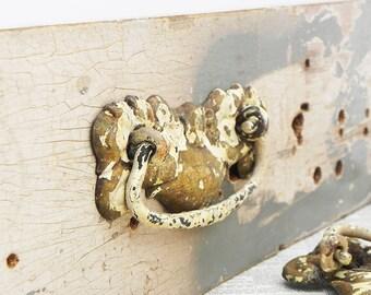 4 slavaged vintage stamped brass dresser chest of drawer pulls handles Vintage Hardware DIY