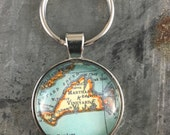 Vintage Atlas Location Key Chain - Choose Your Location