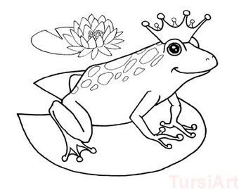 12 frog prince coloring postcards one dozen cards to color and mail adult coloring - Frog Prince Coloring Page