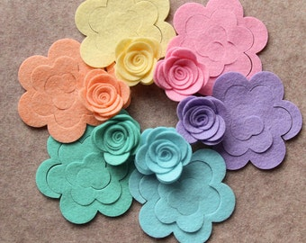 Hippie Chick - Medium 3D Rolled Roses - 12 Die Cut Wool Blend Felt Flowers - Unassembled Rosettes