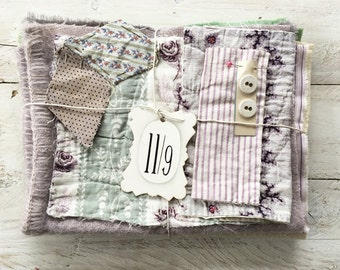 Vintage french fabrics, blanket, haberdashery label- bundle of possibilities,