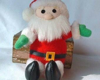 1970's Stuffed Santa Claus Christmas Ornament Decoration - Vintage Doll