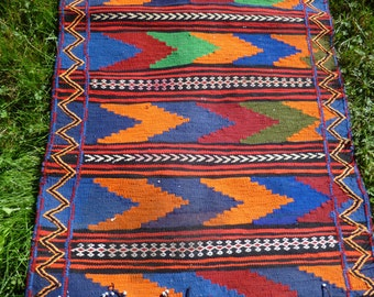 "Long Runner, hand woven Rug/Kilim  8 ft 7 x 2 ft 3"" Handspun wool. Tapis. Bright colours,"