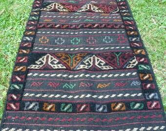 "Traditional  Grey/Red Adras Khan rug/kilim.  Hand woven. 5 ft 7""  x 2 ft  2"" 170 x 66 cm"