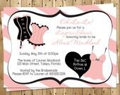 Lingerie Shower Invitations, Bridal, Damask, Pink, Gray, Wedding, Set of 10 Printed Cards, FREE Shipping, LISPK, Lingerie Shower Pink