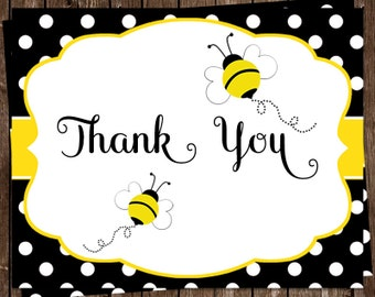 Bee Baby Shower, Sprinkle, Birthday Thank You Cards, Yellow, Black, Polka Dots, 20 Folding Notes, FREE Shipping, BBWYD, Babee on the Way
