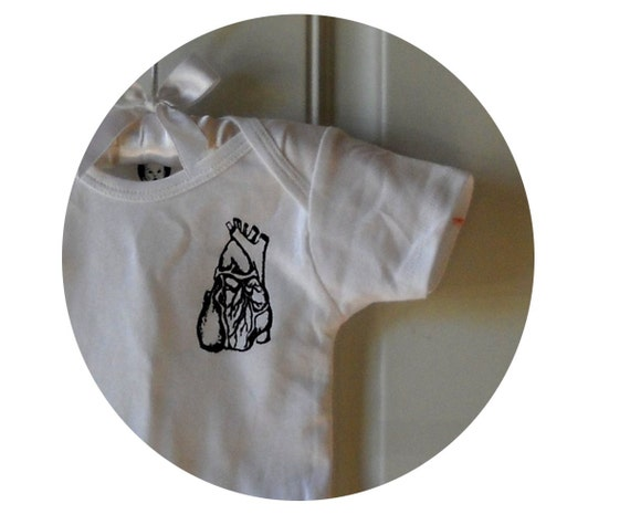 Anatomical Heart Baby Onepiece In White, Cotton, Anatomy, Infant Creeper