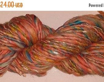 SALE - Handspun Merino Soft Wool Yarn Thick Thin - Bubble Gum - 70 Yards
