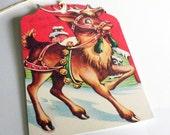 Reindeer In Harness - Gift Tags - Christmas Deer - Set of 3 - Retro Reindeer - Jingle Bell Deer - Deer Kitsch Tag - 1950's Xmas Deer