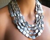 Multi Strand Necklace, Chunky Necklace, Blue Necklace, Orange Necklace, Silver Necklace, Statement Necklace, ACRYLIC Necklace