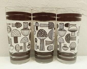Mid Century Danish Mod Mushroom Drinking Glasses