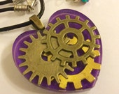 Purple Steampunk Pendant Necklace - Bronze Cogs Gears in Clear Resin Heart on Real Leather Cord