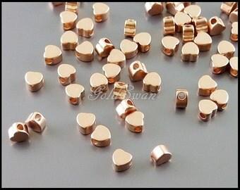 8 teeny tiny matte rose gold heart beads, 4mm small heart beads, metal beads, love charm 1840-MRG-4