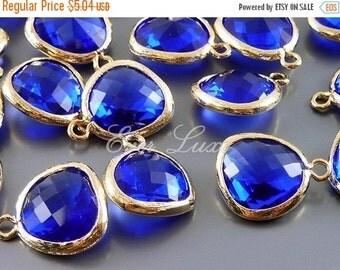 15% OFF 2 cobalt blue unique glass charms for jewelry making / glass earrings necklaces bracelets 5031G-CO (bright gold, cobalt blue, 2 piec