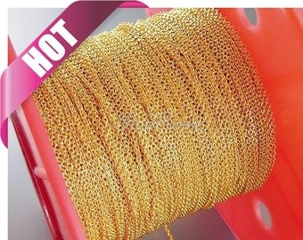 Best seller! 1 meter 1.7mm x 1.5mm Gold plated flat cable chains, perfect for delicate necklace and bracelets B007-BG