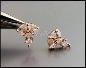 2 pcs (1 pair) rose gold leaf CZ Cubic Zirconia stud earrings, customize earrings, perfect for brides / bridesmaids E1687-BRG