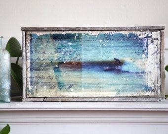 "Let The Waves Roll In - 12.5"" x 6.5"" original framed mixed media surfing painting on canvas"