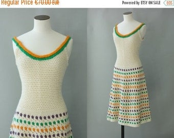Midinette crochet dress   Off white knitted dress   1970's by cubevintage   small to medium