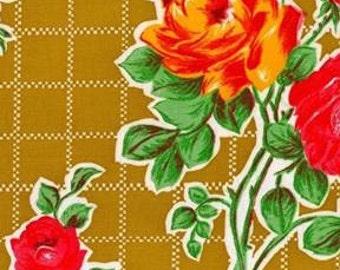 Tan Rose Oilcloth Fabric