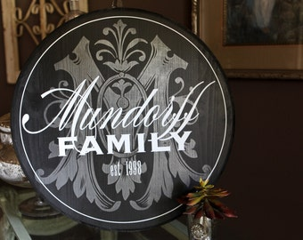 "15"" Round Personalized Established Family Name Sign, Initial Signage"